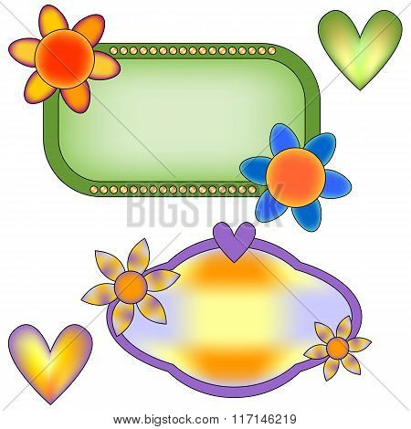 Colorful banner collection with flowers and hearts