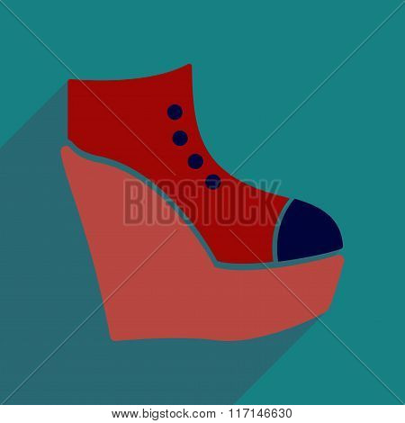 Flat icon with long shadow platform shoes
