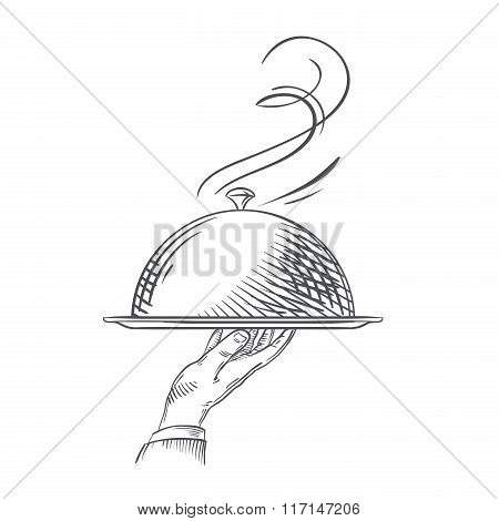 Vector hand-drawn illustration of waiter hand holding a tray