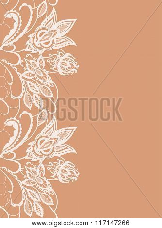 Abstract Lace With Elements Of Flowers And Leaves
