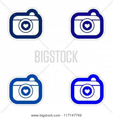 Set of paper stickers on white background wedding camera