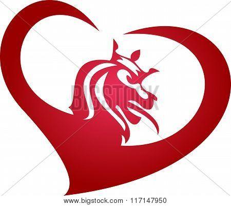 stock logo lion king heart
