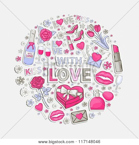 With love sticker  set  in circle