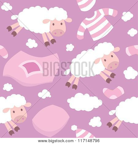 Seamless pattern with funny flying sheeps