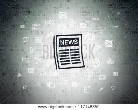 News concept: Newspaper on Digital Paper background