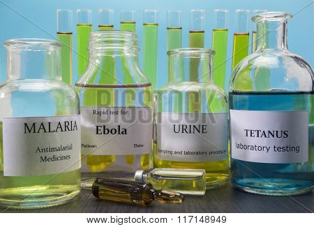 Tests For Research Of Malaria, Ebola, Urine And Tetanus