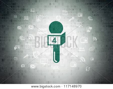 News concept: Microphone on Digital Paper background