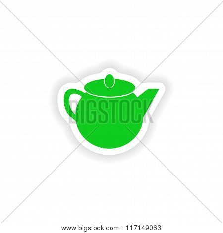 icon sticker realistic design on paper teapot
