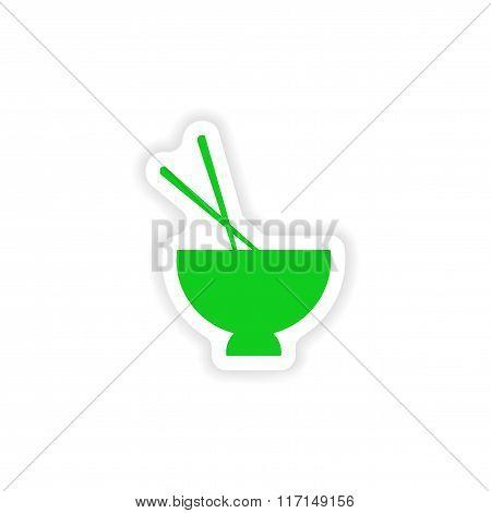 icon sticker realistic design on paper miso soup