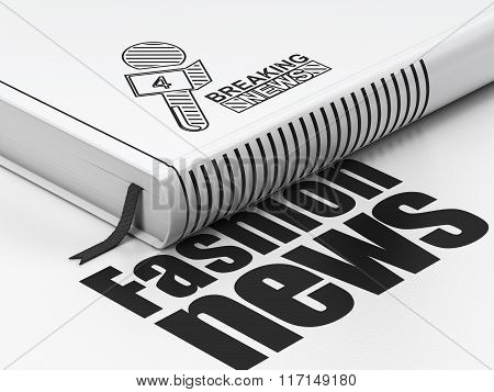 News concept: book Breaking News And Microphone, Fashion News on white background