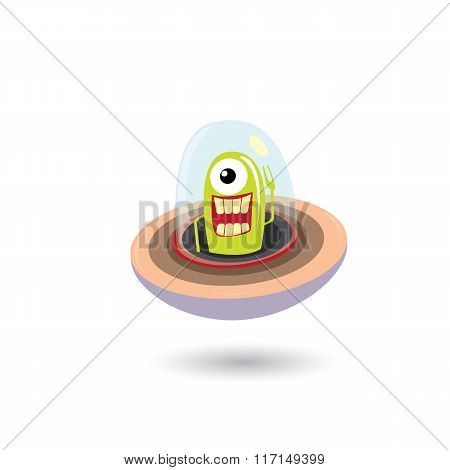 ufo. green alien vector. flying saucer