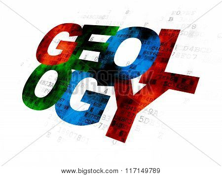 Studying concept: Geology on Digital background