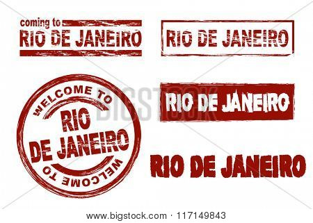 Set of stylized ink stamps showing the city Rio de Janeiro