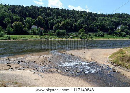 River Mouth Of Kirnitzsch Into Elbe In Bad Schandau, Saxon Switzerland