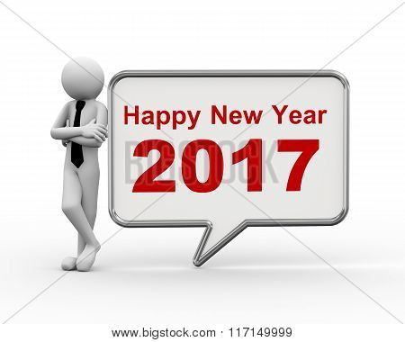 3D Businessman New Year 2017 Speech Bubble