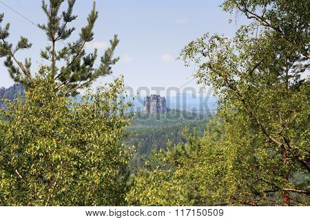 Mountain Rock Falkenstein Seen From The Affensteine In Saxon Switzerland