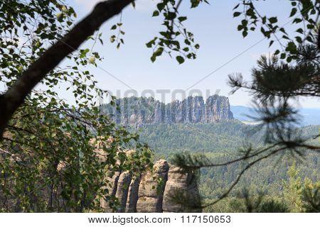 Group Of Rocks Schrammsteine Seen From The Affensteine In Saxon Switzerland