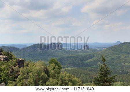 Group Of Rocks Schrammsteine And Falkenstein In Saxon Switzerland