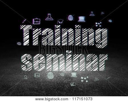 Learning concept: Training Seminar in grunge dark room
