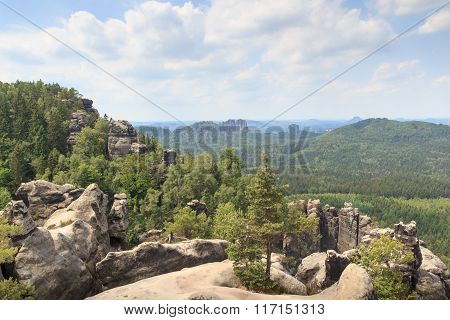 View From Carolafelsen Towards Schrammsteine And Falkenstein In Saxon Switzerland