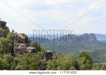 View From Carolafelsen Towards Schrammsteine In Saxon Switzerland