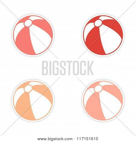 assembly realistic sticker design on paper beach ball