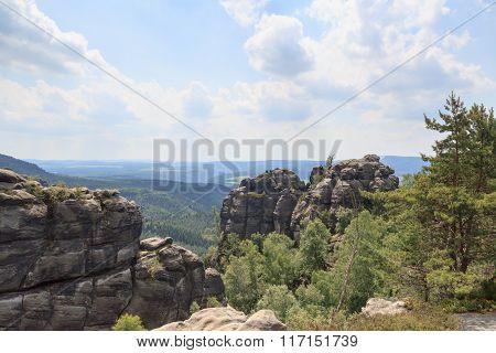 Panorama View From Lookout Near Reitsteig, Affensteine In Saxon Switzerland