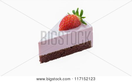 Strawberry Chocolate Cheese Cake Isolated On White Background, With Clipping Path