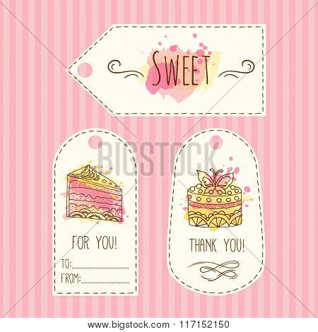 Tags with cake illustration. Vector hand drawn labes set with watercolor splashes.