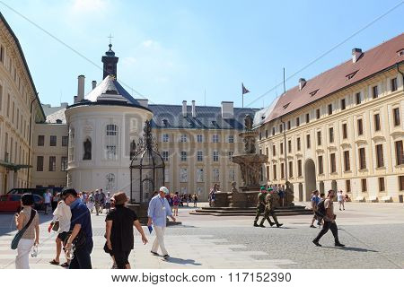 Well With Baroque Grille, Kohl's Fountain And Chapel Of The Holy Cross In Prague Castle