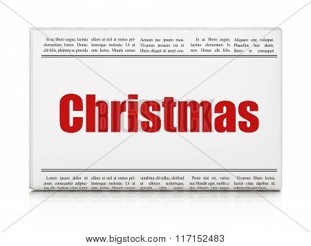 Entertainment, concept: newspaper headline Christmas