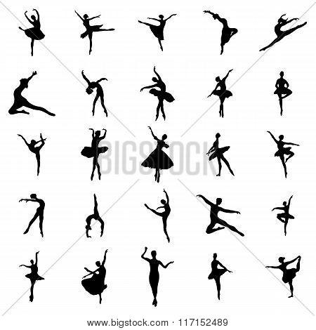 Ballerina. Ballerina silhouettes set. Ballerina icons. Ballerina signs. Ballerina isolated. Ballerina silhouettes art. Ballerina silhouettes web. Ballerina icons art. Ballerina icons web