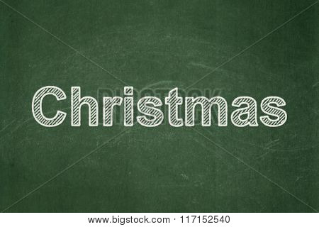 Entertainment, concept: Christmas on chalkboard background
