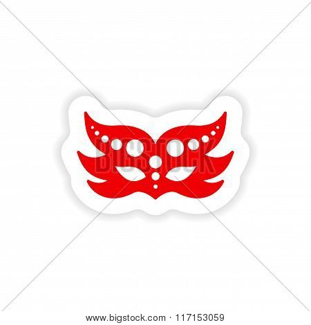 stylish paper sticker on white background carnival mask