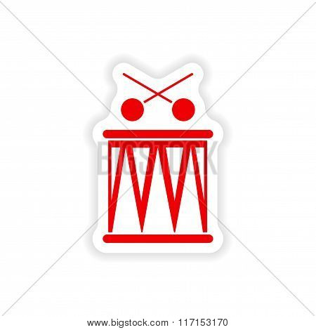 stylish paper sticker on white background Brazilian drum