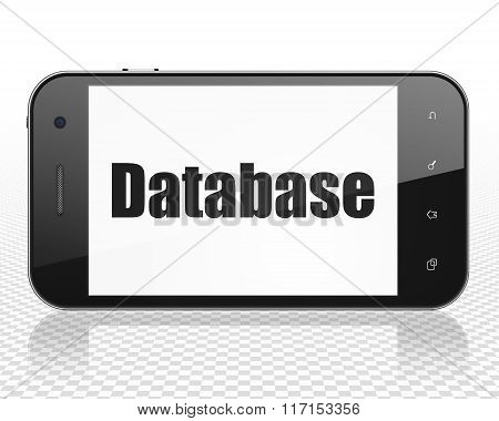 Software concept: Smartphone with Database on display