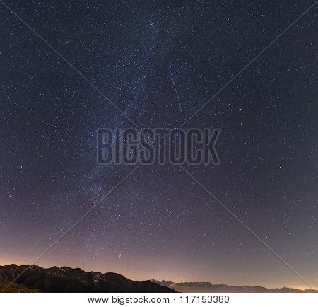 Milky Way, Starry Sky, Andromeda Galaxy From The Alps