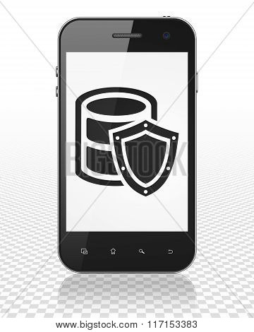 Database concept: Smartphone with Database With Shield on display