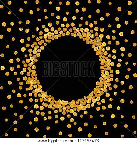 Round gold frame or border.