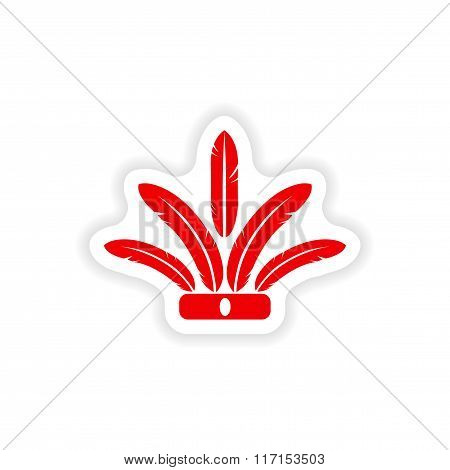 stylish paper sticker on white background Indian feathers