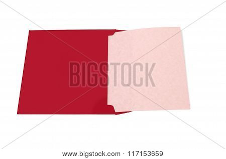 Open Envelope With Blank Pink Page