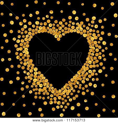 Gold frame in the shape of heart.