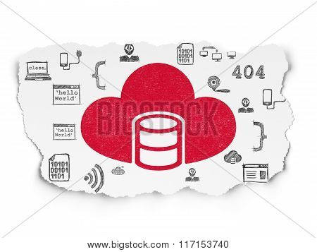 Software concept: Database With Cloud on Torn Paper background