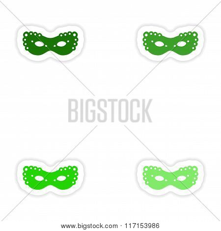 concept stylish paper sticker on white background carnival mask