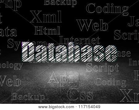 Database concept: Database in grunge dark room