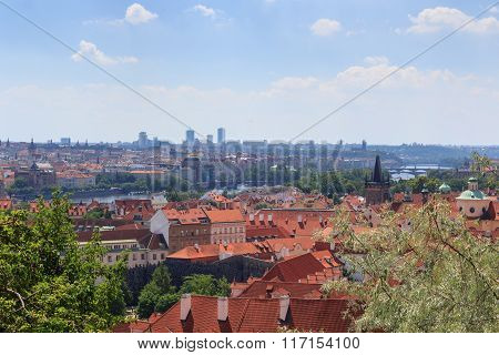 View Of Prague Cityscape With River Vltava In Sunshine