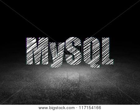 Programming concept: MySQL in grunge dark room