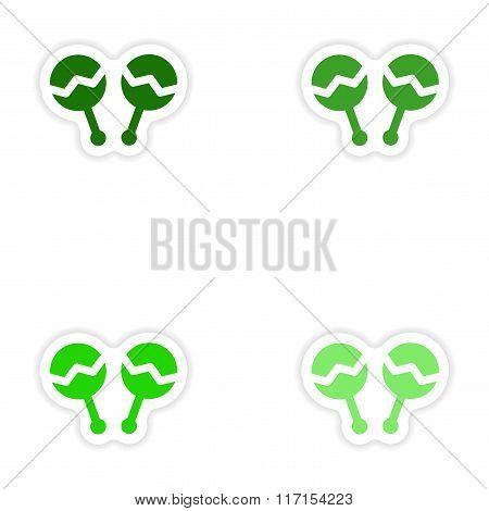 concept stylish paper sticker on white background maracas
