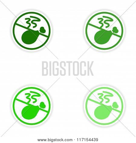 concept stylish paper sticker on white background meat ban