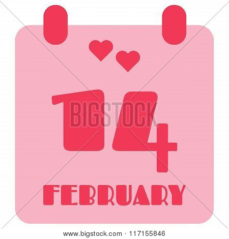 14 February Pink Calendar Symbol, Isolated Vector